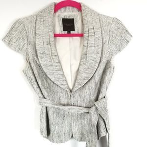 THE LIMITED Short Sleeve Belted Tweed Blazer